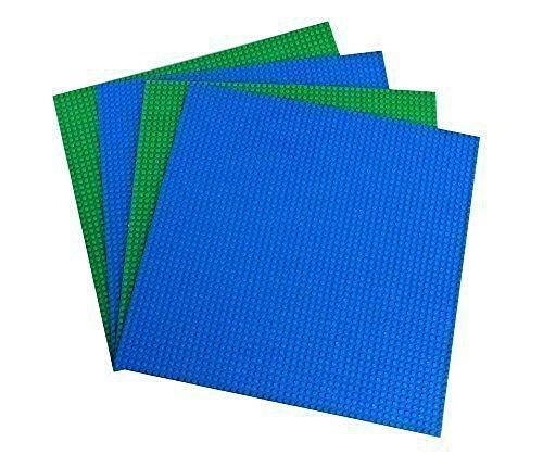 """Bauplatten - kompatibel mit allen führenden Marken - Set aus 4 Platten - je 15,75"""" x 13,25"""" (40 x 33,6 cm) - Grün Blau"""