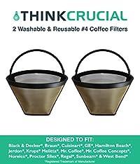 2 Coffee Filters # 4 Cone, Black & Decker, Braun, Cuisinart, GE, Hamilton Beach, Krups, Mr. Coffee, By Crucial Coffee