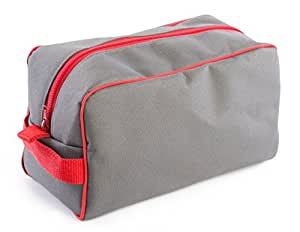 "Concept Covers Mens Overnight Travel Shaving Gym Wash Bag - 10"" (25cm) 600D Polyester - Grey with Red Piping"