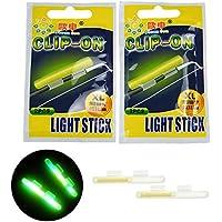 Barras de pesca brillantes, 20pcs #L 2.7X3.2mm barra de luz seca tipo clip en la caña de pescar TopFloat Glow Stick noche Pesca Verde Fluorescente Luz Pesca Glow Sticks,