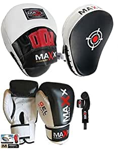 Blk/W Curved Focus pads, Hook & Jab Pads with Gloves & FREE hand wraps (10oz Gloves)