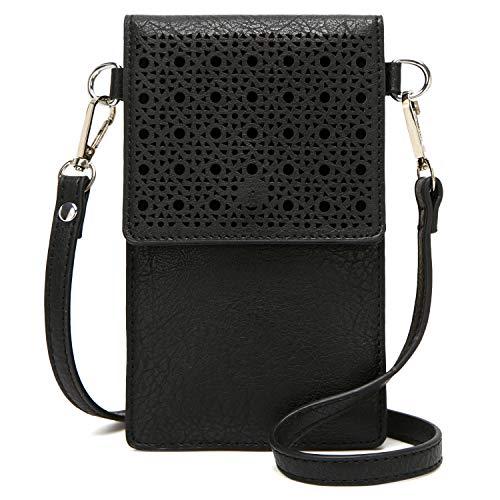 DCCN Handy Schultertasche, Kleine Tasche Umhängetasche für Damen Frauen Schwarz