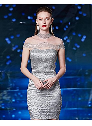 Beauty-Emily Satin See-Through Rückenfreie Pailletten A-Linie Cocktailkleid Grau-mini