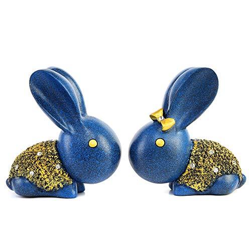 ndwerk Bunny Dekoration Nettes Paar Kaninchen Hause Schmuck Kreative Hochzeitsgeschenk Geburtstagsgeschenk Handwerk Dekoration - 1 para (blau) ()