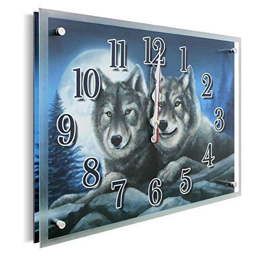 Foto de YS-Art | 30x40 cm | reloj de pared con estampa debajo del vidrio | mecanismo silencioso | números grandes | reloj de pared con cristal natural | Para dormitorio, salón, cocina, oficina