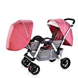 Lightweight Twins Stroller Double Baby Stroller to Sit Face to Face, 2 Seats Baby Carriage Pushchair for 0-36 Months Kids (D) immagine