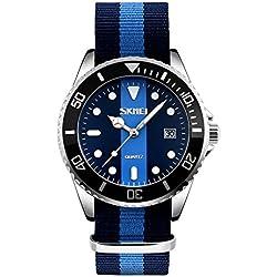 CIVO Men's Analogue Military Simple Design Japan Movement Quartz Business Casual Sport Wrist Watch Mens Silver Tone Classic Fashion Luxury Waterproof Ballistic Nylon Band Dress Watches with Calendar
