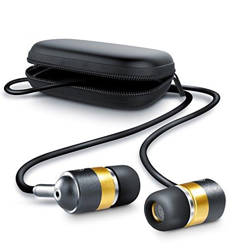 CSL - 630 Alu Auriculares / audífonos estéreos | in-ear superiores de aluminio de gama alta | Nueva serie 2017 | Transductor acústico de 10 mm | Resistente cable de aramida | Incluye funda cuadrada | negro / oro