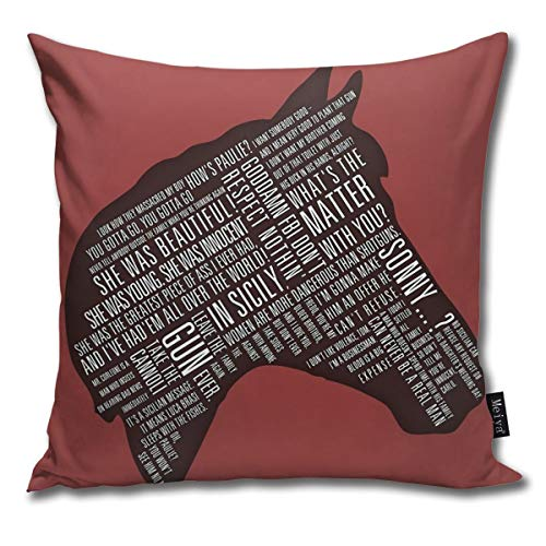 BLUETOP Horses Head Quotes Pillow Cover, 18 x 18 Inch Winter Holiday Farmhouse Cotton Cushion Case Decoration for Sofa Couch