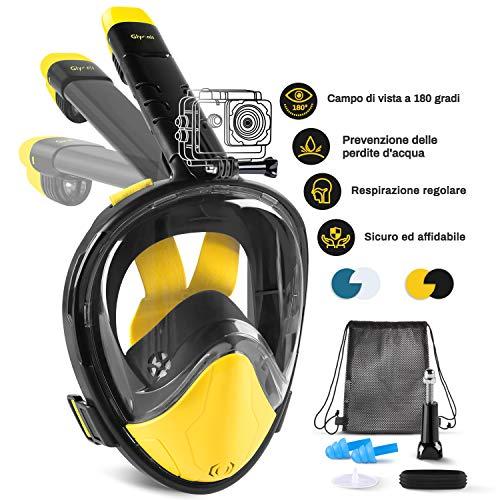 Glymnis Maschera Snorkeling Maschera Subacquea Immersione Panoramica a 180°, Anti-Appannamento, Anti-Infiltrazioni, Tubo Respiratorio Pieghevole(Nero L/XL)