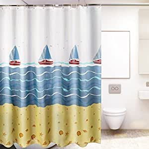 Bath Curtain Waterproof Thicken And Mildewproof Printed Non Toxic No Hardening In Winter Vibrant