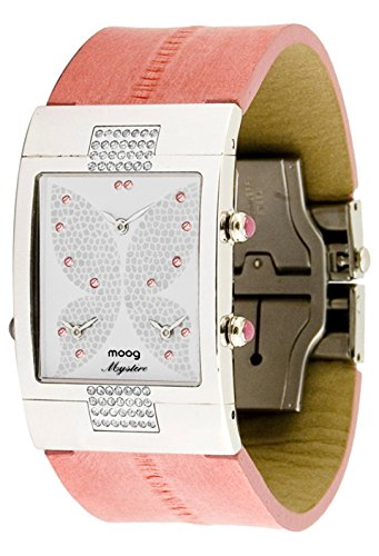 Moog Paris Papillon Women's Watch with White Dial, Pink Genuine Leather Strap & Swarovski Elements - M44404-104
