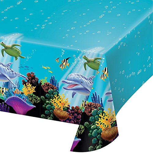 Creative Converting Ocean Party Plastic Table Cover, 54 by 108-Inch