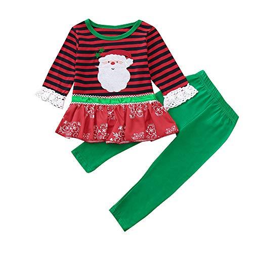VENMO Weihnachten Kleinkind Kinder Baby Mädchen Junge Gestreifte Spitze T-Shirt Tops Kostüme Karneval Fasching Ballettkleid Party Hochzeit Tutu Strampler Kleid +Hosen Outfits Set