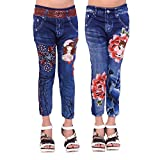 #7: Ziva Fashion Girls Poly Cotton Printed Blue Jeggings (Pack of 2)