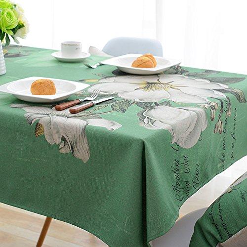 Ommda Tischdecke Leinenoptik Abwaschbar Tischdecke Wasserabweisend Muster Bunt Jasmin Blumen Frühling Modern 85x85cm