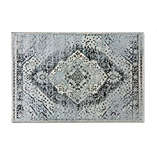 LIFA LIVING Aqua Vintage Teppiche | im schönen Vintage Muster | für Wohn- und Schlafzimmer | Farb und Größen Variationen | (Blau/Hellblau, 133x200)