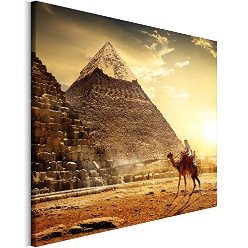Revolio - Bilder - Leinwandbild - Wandbilder - Kunstdruck - Design - Leinwandbilder auf Keilrahmen 1 Teilig - Wanddekoration - Größe: 80x60 cm - Ägypten Pyramiden braun -