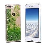 iPhone 8 Plus Hülle, iPhone 7 Plus Schutzhülle, RosyHeart Transparent Handy Case Cover für iPhone 7 Plus/8 Plus (5.5 Zoll) - Dynamisch Treibsand Liquid Fließen Flüssig Schale Tasche Ultradünnen Etui - Hellgrün