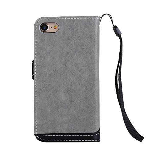 Bookstyle Horizontale Flip Stand Case Litchi Texture Dual Farbe genäht PU Leder Tasche mit Lanyard & Niet Button für iPhone 7 ( Color : Red ) Gray