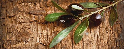 Artland Qualitätsbilder I Glasbilder Deko Glas Bilder 125 x 50 cm Ernährung Genuss Speisen Obst Foto Braun C9VA Oliven vor Einem Holzhintergrund