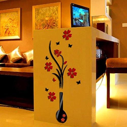 Autoadesivi della parete della decalcomania DIY Flower Vase albero di cristallo acrilico 3D,Fami