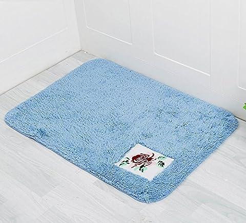 Lx.AZ.Kx Paillasson Coton Chambre à coucher Longueur à la longueur de la porte Tapis de toilette Absorption d'eau Anti-Slip Pad broderie postée, bleu frais, 50 * 120Cm