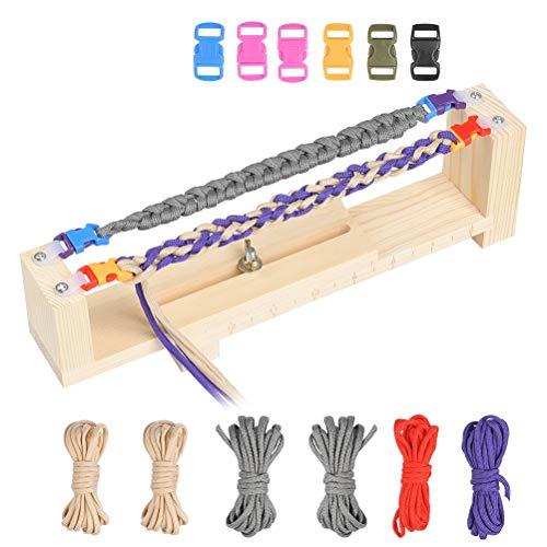 Wowoss telaio per braccialetti in legno con 6 corde braccialetti per paracadute e 6 fibbie paracord braccialetto maker che tessono kit di attrezzi artigianali fai da te