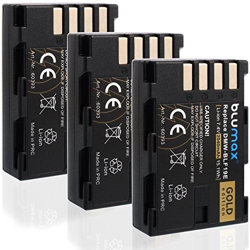 Blumax 3X DMW-BLF19/DMW-BLF19E Akku Kompatibel mit Panasonic Lumix DMC-GH3/DC-GH5 DMC-GH4/DMC-GH4R/DMC-GH3A/DMC-GH4/DMC-GH3H 2040mAh 7,4V 15,1Mehr Leistung als Original Akku