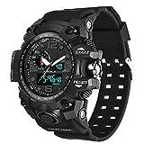 ZIHENGUO Herren-Sportuhr, WR50M Wasserdichte Digitale Militäruhren mit Countdown/Timer/Alarm, schlagfeste LED-Analog-Armbanduhr,Black