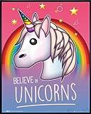 Close Up Emoji Poster Believe in Unicorns (52x41 cm) gerahmt in: Rahmen Schwarz
