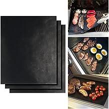 BBQ Alfombrilla para grill, lote de 3 unidades antiadherentes reutilizables, funcionan en gas, carbón vegetal, hornos, grill eléctrico y más