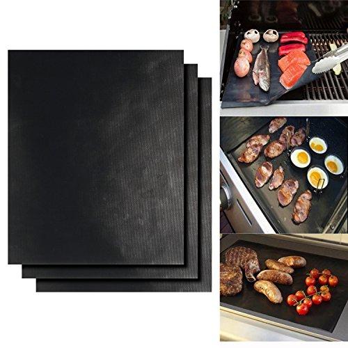 511JTAbLG9L - Dobet BBQ-Grillmatten-Set 3Stück 40,6x 33cm Fiberglas wiederverwendbares Grill-Zubehör–funktioniert auf Gas-, Holzkohle-Grill, Öfen, Elektro-Grills und mehr