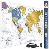 Mapa mundi para rascar, 84 x 59cm scratch world map, Póster de gran tamaño con más de 800 destinos, que incluye un antifaz para dormir 3D. Un regalo para original para los viajeros.