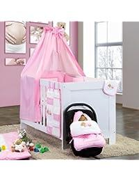 7-tlg. Bettsetpaket Sleeping Bear in rosa inkl. Schlafsack und Wickelauflage