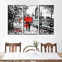 Canvas Print Pictures Living Room 3 Pieces Red Umbrella Lover Painting London Street Rain View Poster Retro Home Decor Wall Art- 50x70cm No Frame