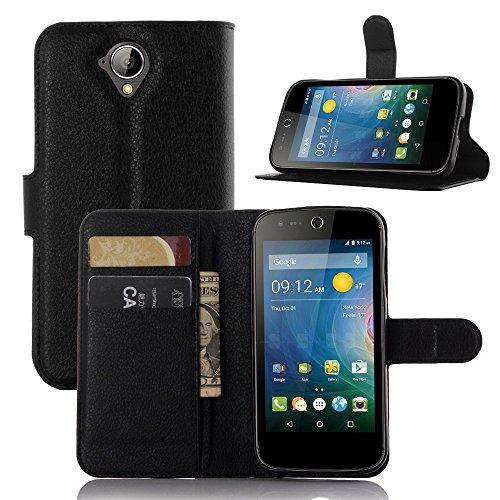 Tasche für Acer Liquid Z330 Hülle, Ycloud PU Ledertasche Flip Cover Wallet Case Handyhülle mit Stand Function Credit Card Slots Bookstyle Purse Design schwarz
