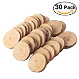 Pixnor Wood Log Slices Discs 30pcs 4-5CM Wood Log Slices Discs for DIY Crafts Wedding Centerpieces