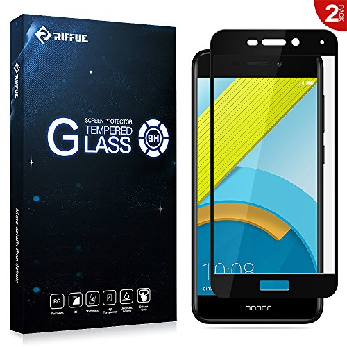 RIFFUE Honor 6C Pro Panzerglas, Huawei Honor 6C Pro Schutzfolie, Kristallklares Glas 3D Vollbild-Abdeckung Full Screen Protector Tempered Glass für Huawei Honor 6C Pro 5.2
