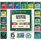VAHDAM, los mejores surtidos de té 15 diferentes surtidos de bolsas de té de muestras paquete de regalo Paquete de variedades   Lo mejor del té negro, té verde, té Oolong, té de hierbas de la India