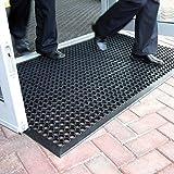 Grande tappetino d'entrata in gomma da esterni, tappetino antiscivolo drenante - 3 taglie disponibili, plastica, Black, 0.9m x 1.5m