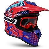 """Soxon® SKC-33 Set """"Fusion Red Blue"""" · Kinder-Cross-Helm · Motorrad-Helm MX Cross-Helm MTB BMX · ECE Schnellverschluss SlimShell Tasche XXS (49-50cm)"""