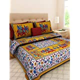 Jaipuri Bedspreads Double Bedsheets With 2 Pillow Covers 100% Cotton Rajasthani Tradition King Size Double Bedsheet With 2 Pillow Cover