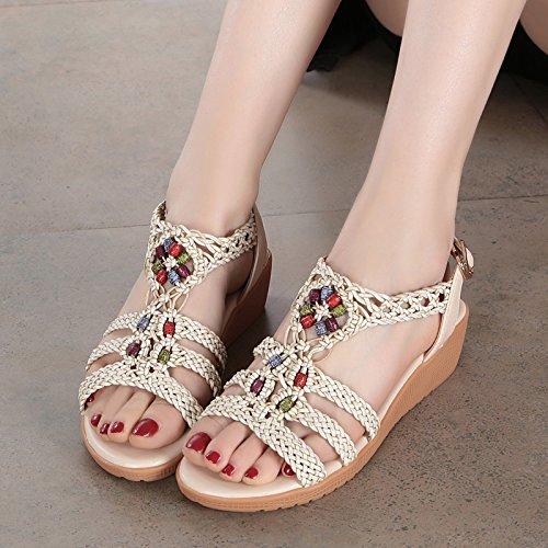 Leder - Sandalen, Damenschuhe, Flache Schuhe. Couro - Sandálias, Sapatos Femininos, Sapatos Plana. Beige, Bege,