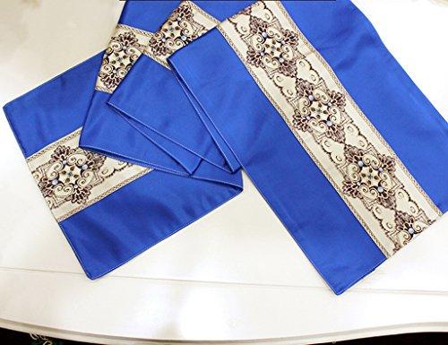 Unbekannt Tischläufer Satin Esstisch Tee Tisch Bett Flag Restaurant Hotel Mode Retro Continental Tischdecke (Farbe : Royal Blue, größe : 30 * 180cm)