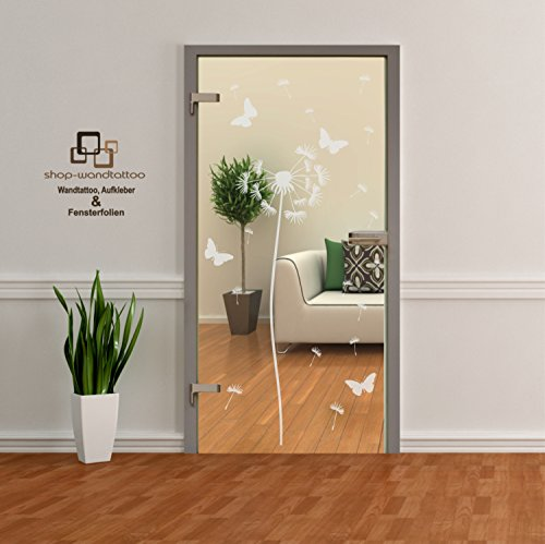 Glastür Aufkleber Tattoo Folie Glasdekor Fensterfolie Sichtschutz Wohnzimmer, Bad, Küche oder für alle Glasflächen Sichtschutzfolie für Türen Pusteblume einzeln oder als Set (1 Pusteblume ca. 160cm x 50cm)