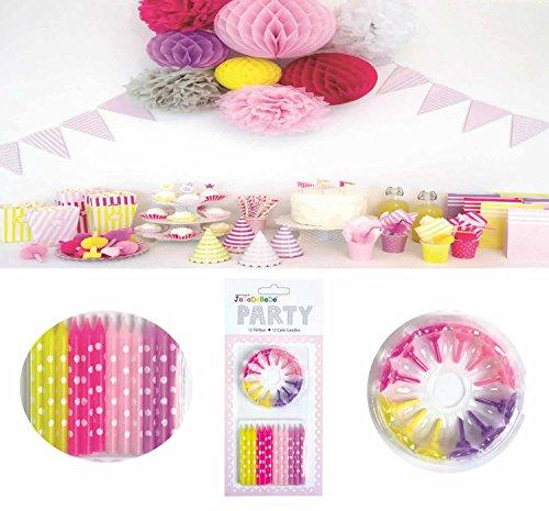 tags-Kerzen & Halter Rosa Lila Pink Gelb Kuchenhalter JaBaDaBaDo Geburtstag Party ()