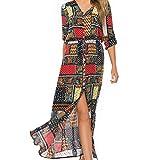 SEWORLD Kleid Damen Sommerkleid Abendkleid Strandkleid Party Kleider Lange Boho Kleid Übergröße Maxikleid Spleißen Kleid Maxirock Festliches Kleid große größen Lange Kleider(Rot,EU-46/CN-4XL)