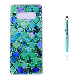 Grandoin Galaxy Note 8 HandyHülle, Süßes Muster Transparent Ultra Dünn Weiche TPU Silikon Schutz Handy Hülle Handytasche HandyHülle Etui Schale Schutzhülle Case Cover für Samsung Galaxy Note 8 – Blau