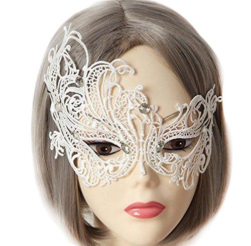 ode Sexy Spitze Strasssteine Augen Maske Masquerade Mask für Halloween Maskentanzabend Party Foto Zubehör (Weiss-1) (Weisse Augen Halloween-kostüm)